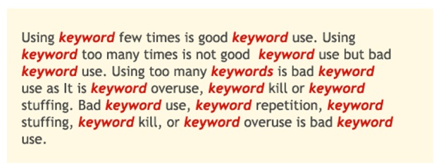 keywords stuffing SEO checklist